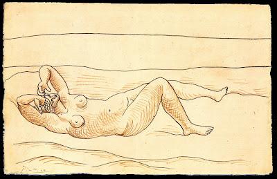 picasso femme couchée au bord de mer