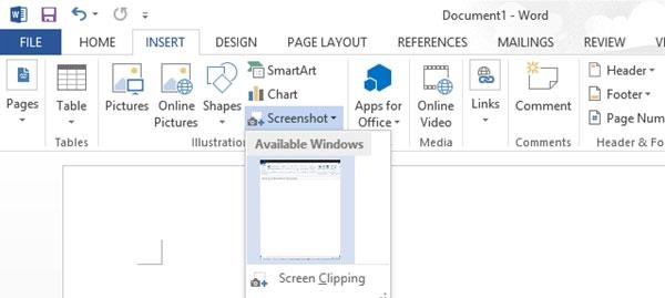 Hướng dẫn sử dụng Screenshot Tool trong Word 2013 1