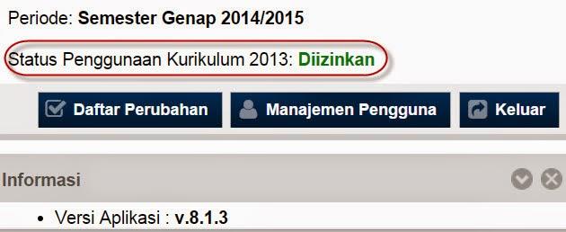 Status Penggunaan Kurikulum 2013 Dapodikmen 8.1.3