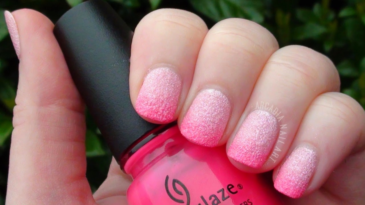 Textured Polish Pink Gradient Easy Nail Art