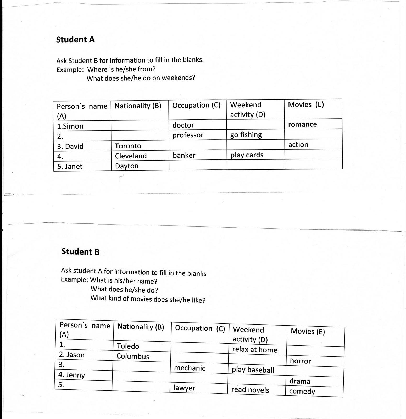 information gap activities worksheet pdf