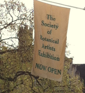 Banner of Society of Botanical Artists Exhibition, Westminster, London