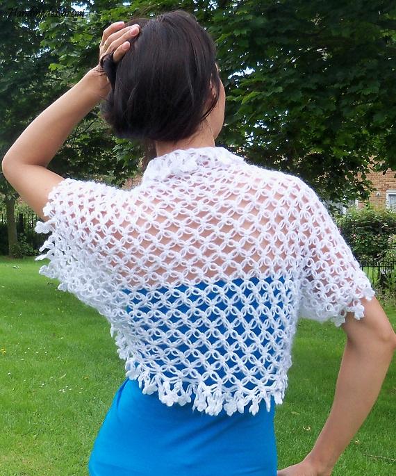 ... chic and elegant wearing this beautiful white hand crochet shrug
