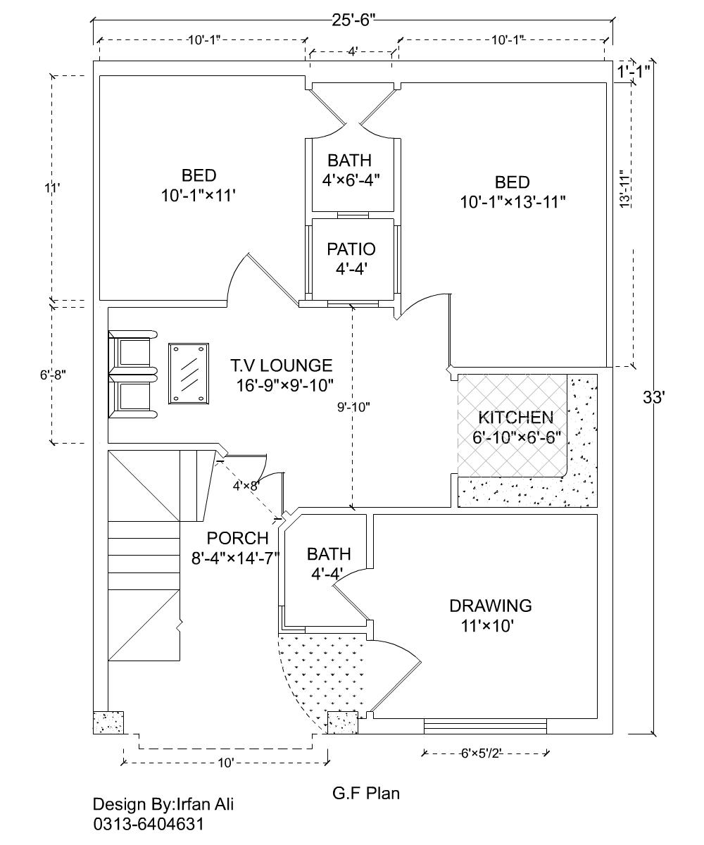 25x33 House Plan, 3 Marla House Plan