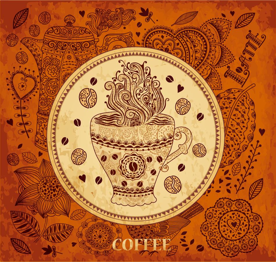 コーヒーをテーマにしたレトロな背景 Retro coffee pattern background イラスト素材
