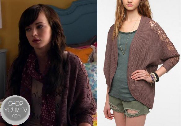 Awkward: Season 3 Episode 15 Jenna's Dusty Pink Lace Sleeve Cardigan  