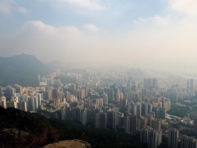 View of Kowloon, with smog and pollution, from Lion Rock Peak, Hong Kong