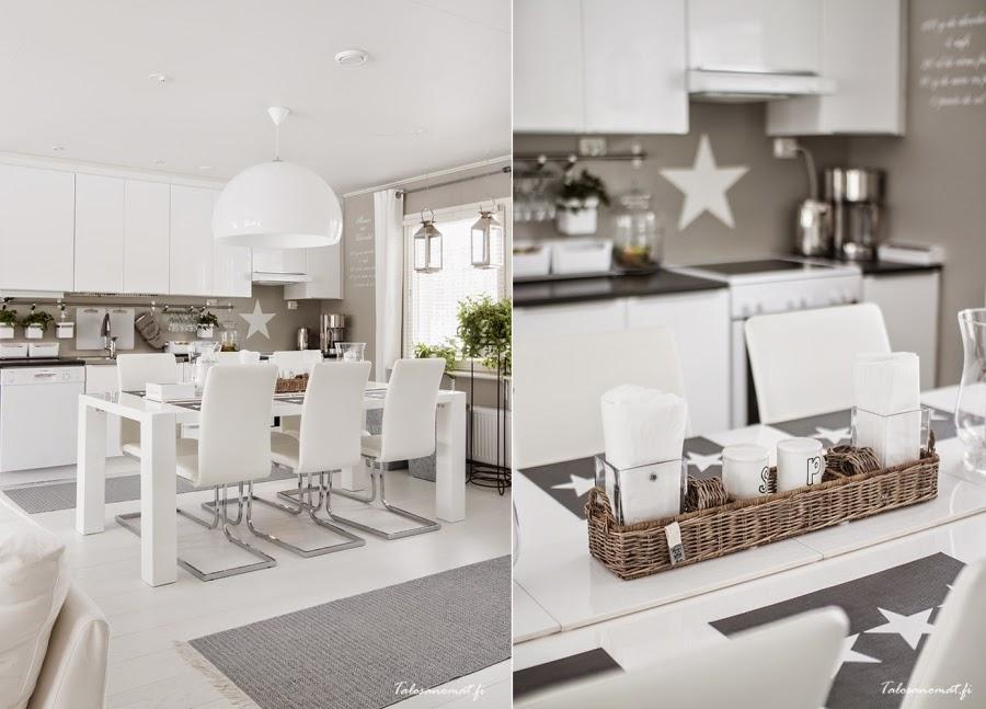 wnętrza, wystrój wnętrz, home decor, dom mieszkanie, urządzanie, dekoracje, gwiazda, gwiazdki, motyw, star, szarości, biel, białe wnętrza, kuchnia, jadalnia, stół