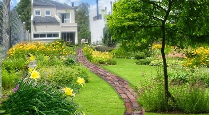 Dise o de jardines decorar los caminos en el jard n for Como colocar adoquines en el jardin