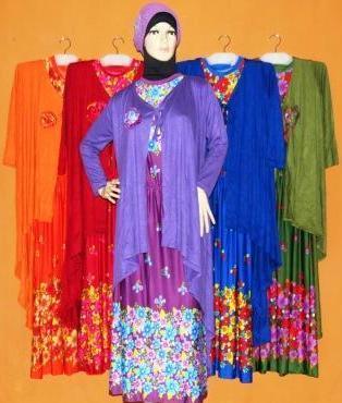 Supplier baju muslim murah modern di Surabaya bahan kaos katun sifon