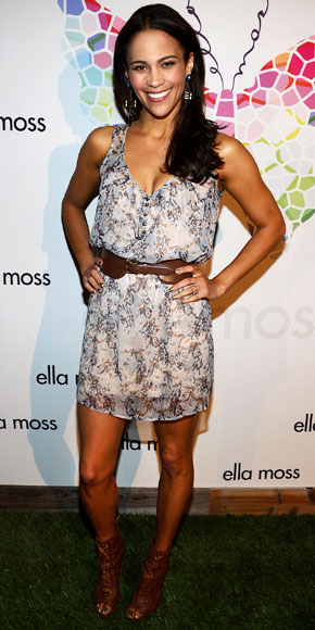Paula Patton Wore A Floral Mindress And Lace Up Booties To Ella Moss