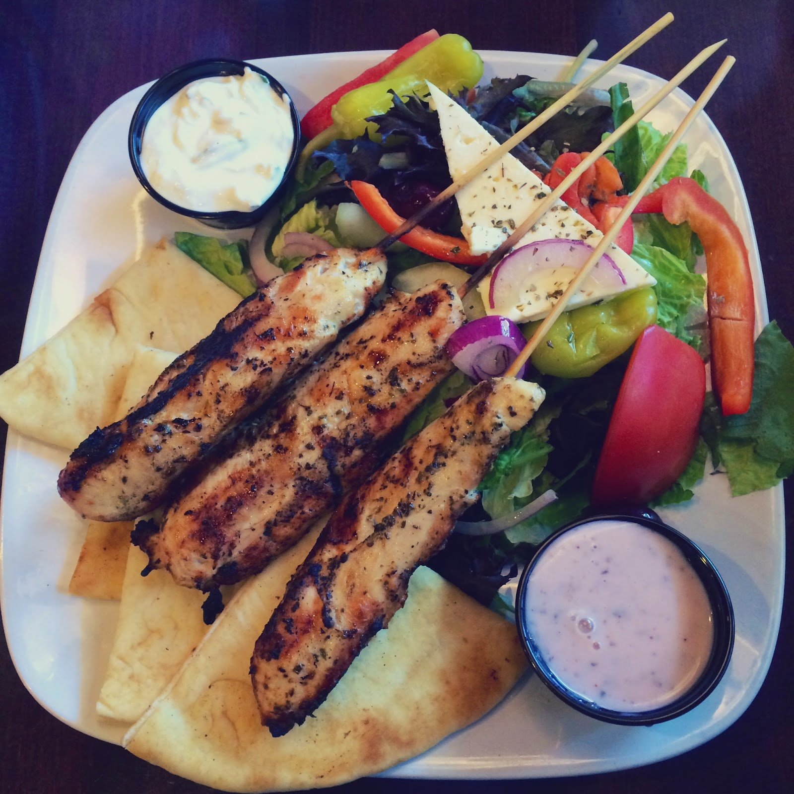 chicken souvlaki, greek food, acropolis