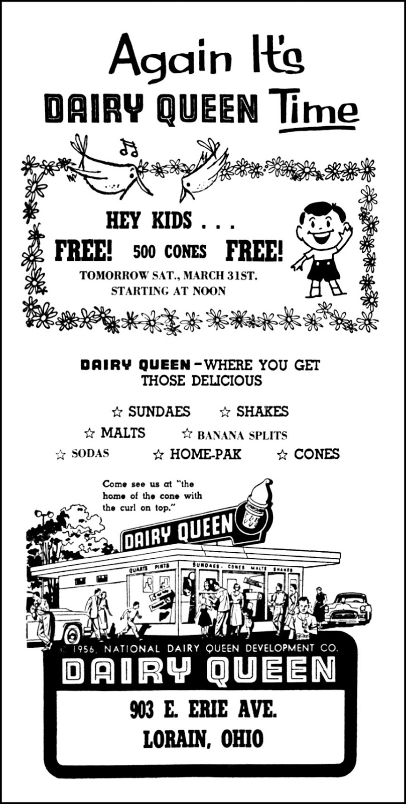 Dairy Queen - 903 East Erie Avenue, Lorain, Ohio U.S.A. - published in the Lorain Journal - March 30, 1956
