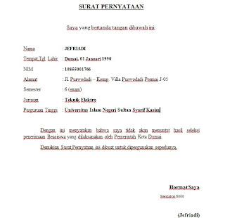Contoh Surat Pernyataan Diri Terbaru 2014