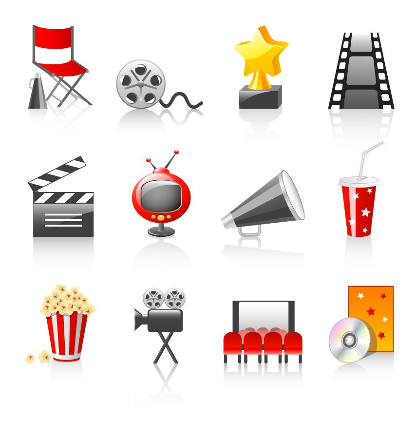 映画関連のアイコン movie icon vector イラスト素材