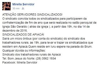 Sindserv-ABC convida sindicalizados de BJN e Apiacá para confraternização de fim de ano
