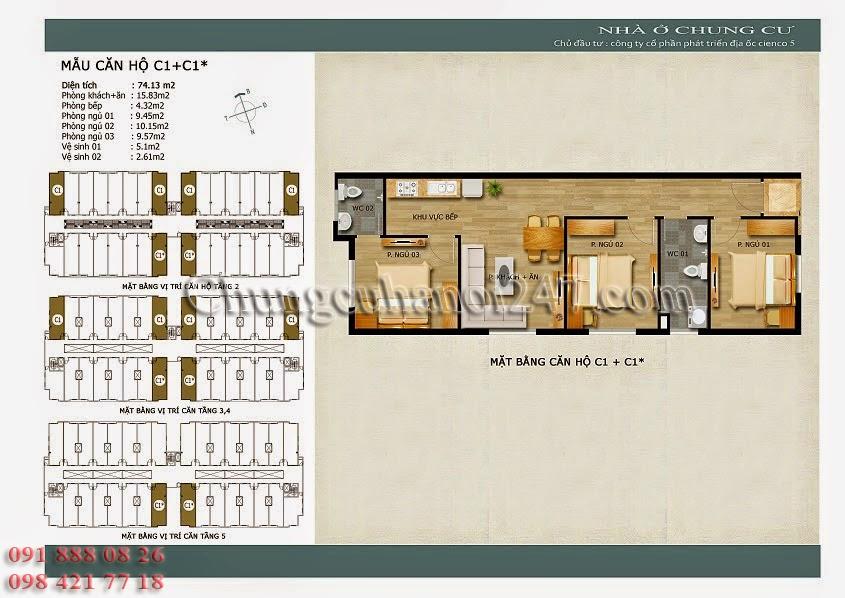 mặt bằng căn hộ c1+c1* chung cư thanh hà cienco 5 hà đông