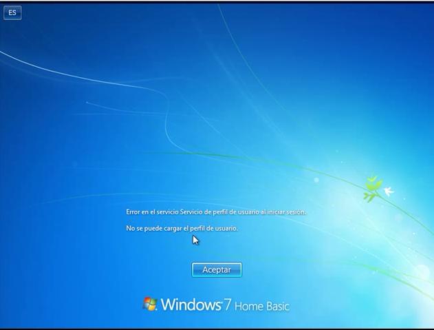 Reparar error inicio de sesion de perfil en Windows
