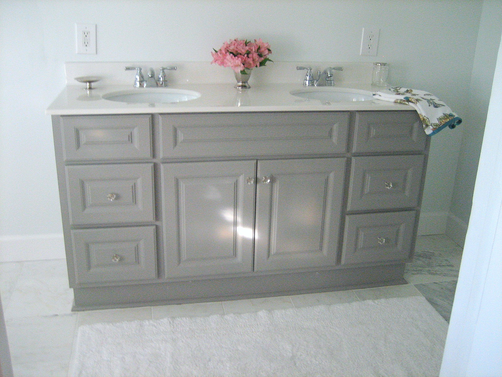 Ten june diy custom painted grey builder standard Bathroom cabinets gray