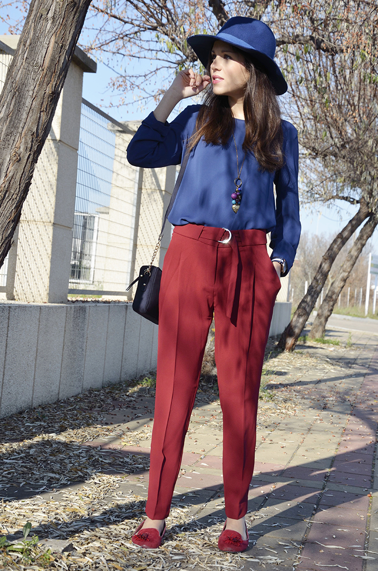 look-azul-granate-outfit-blogger-fashionblogger-daniel-wellington