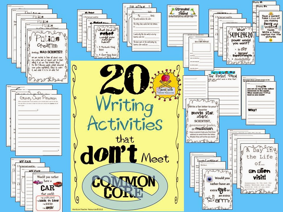 http://www.teacherspayteachers.com/Product/20-Writing-Activities-that-DONT-Meet-Common-Core-Great-for-Reluctant-Writers-804754