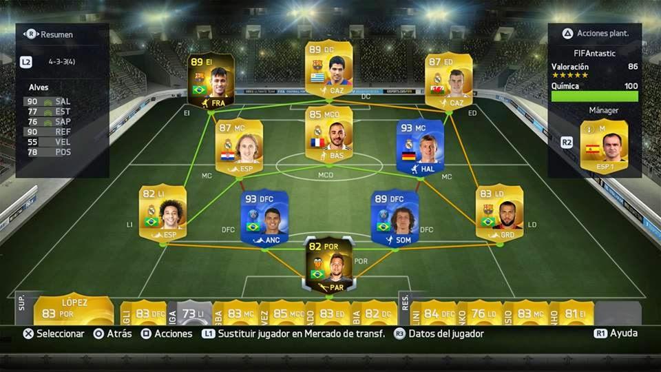 Química compenetración al hacer sustituciones FIFA 15 Ultimate Team, cambios minuto 1 FUT 15