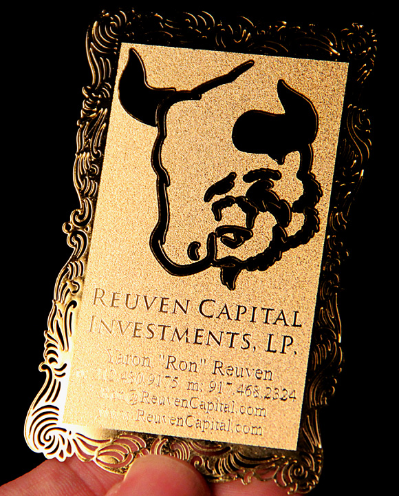 Die Cut Metal Business Card with Etching