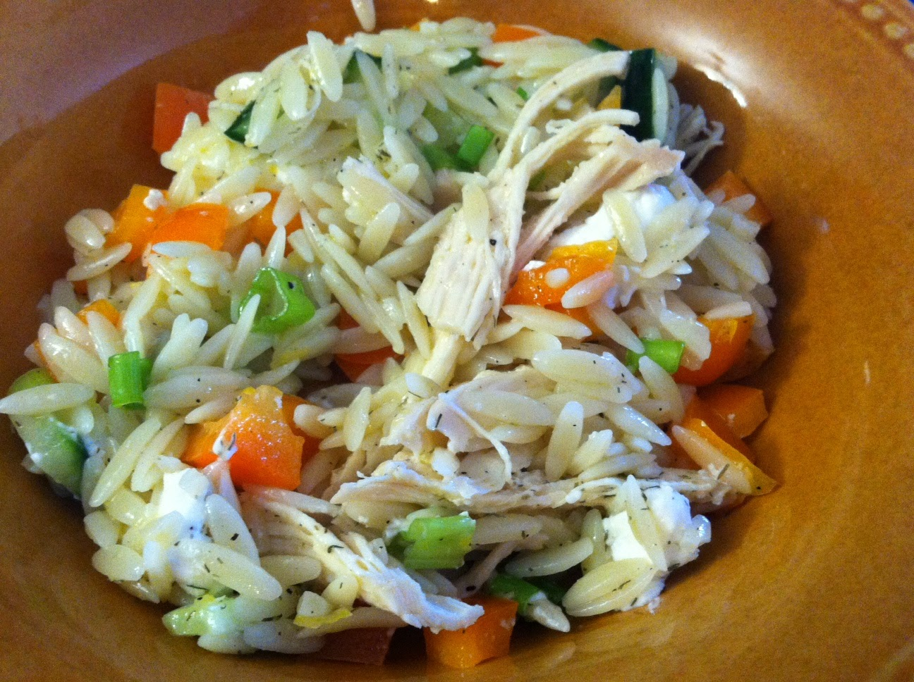 Lemony Orzo- Veggie Salad with Chicken
