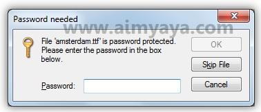Gambar: Permintaan password sebelum ekstrak file menggunakan windows explorer