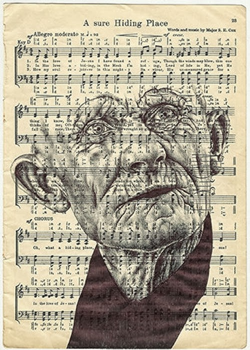 26-Portraits-on-Envelopes-Documents-or-Sheets-of-Music-British-Artist-Mark-Powel-www-designstack-co
