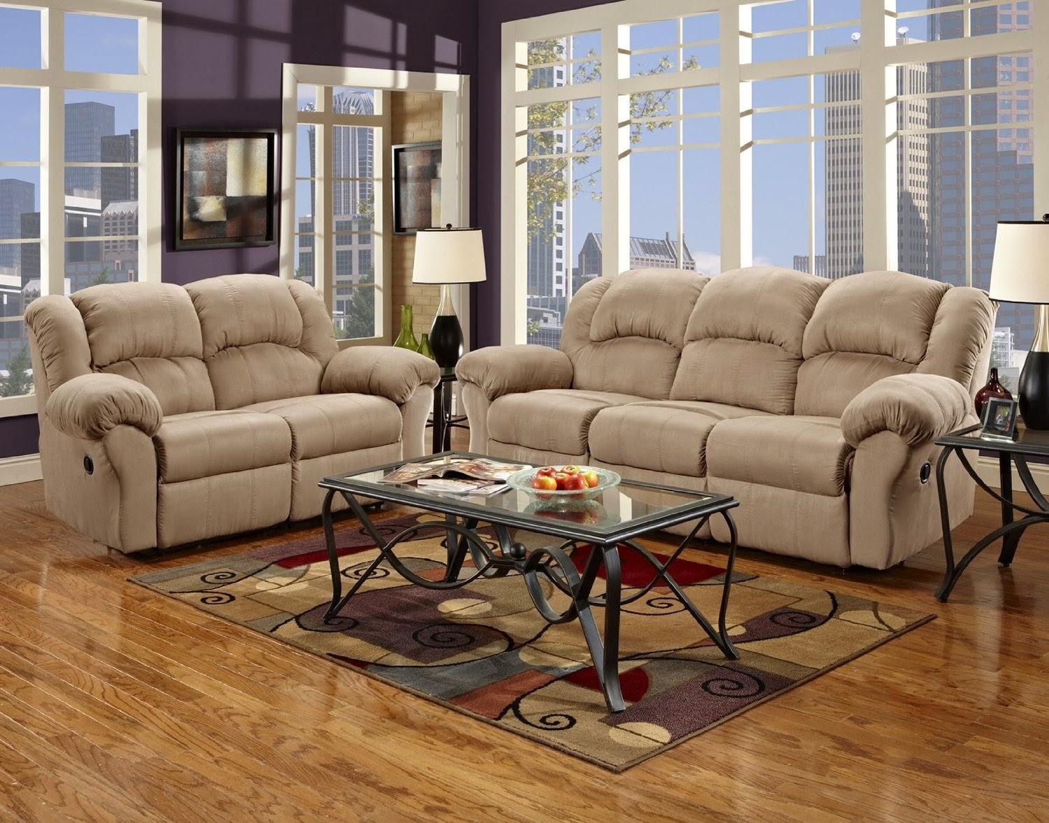 Microfiber Reclining Sofa Loveseat Set