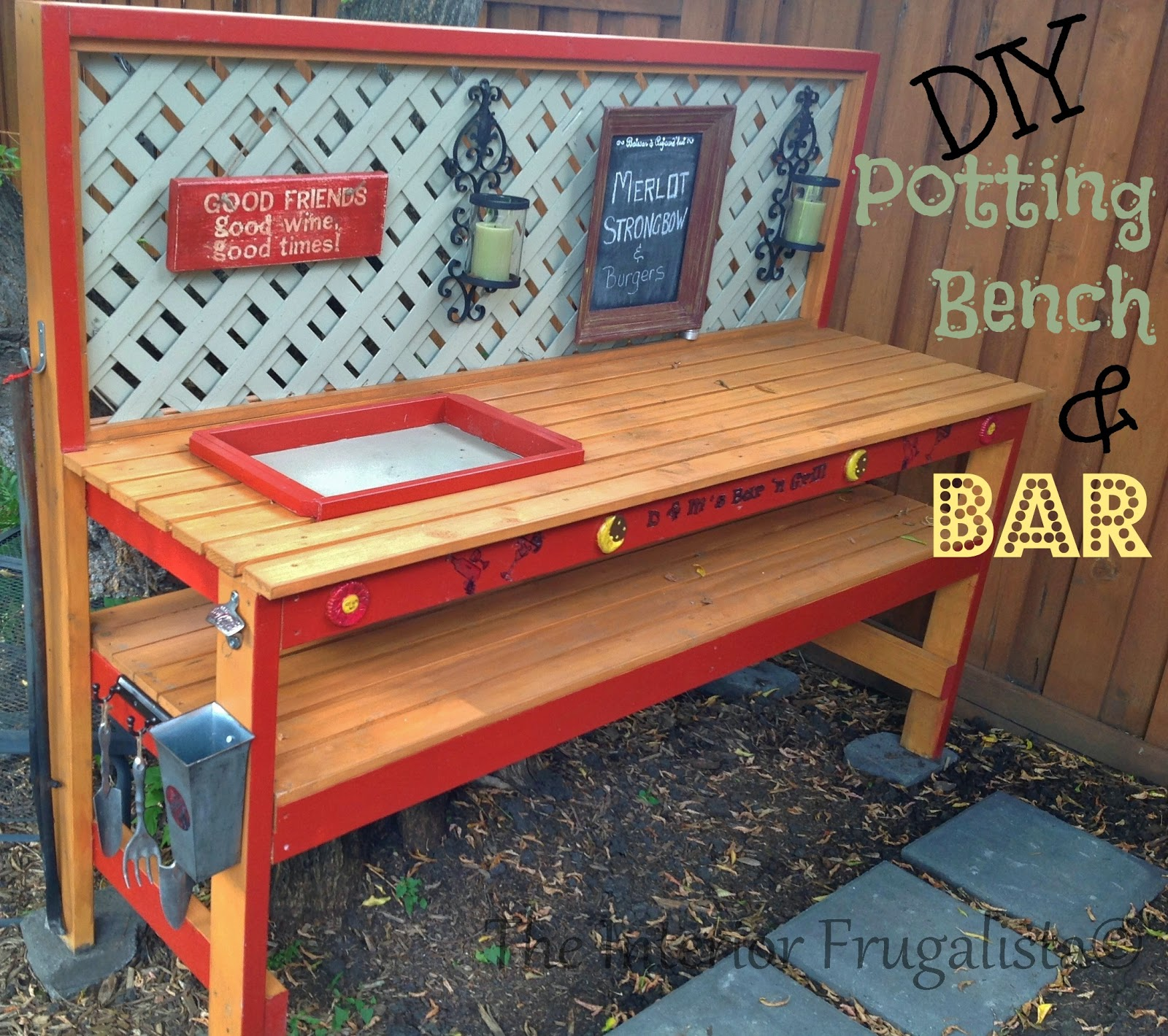 Easy DIY potting bench and outdoor bar After