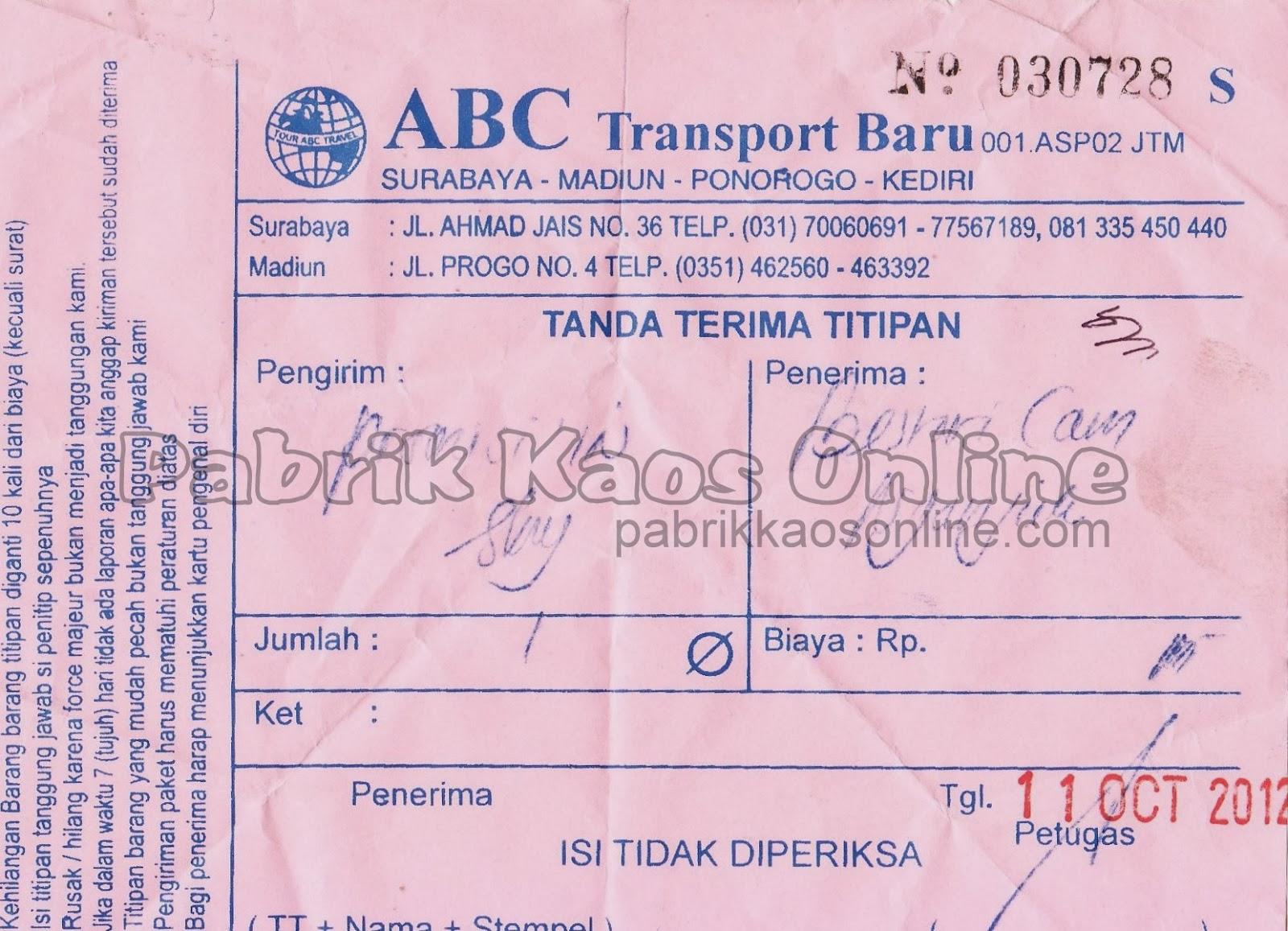 nota kirim nganjuk via ABC Transport baru