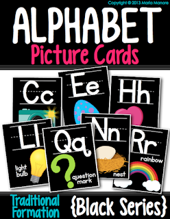 alphabet cards for kindergarten classroom