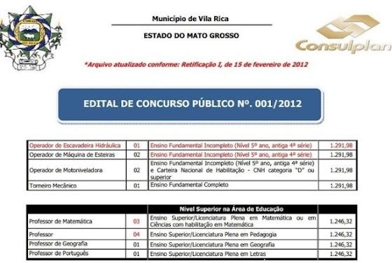 edital de Vila Rica