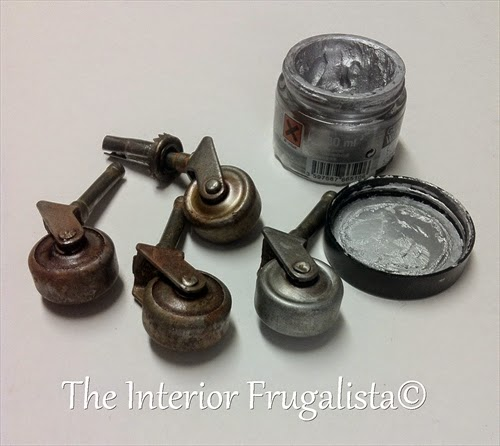 Vintage Dining Room Makeover casters rubbed with silver buffing wax