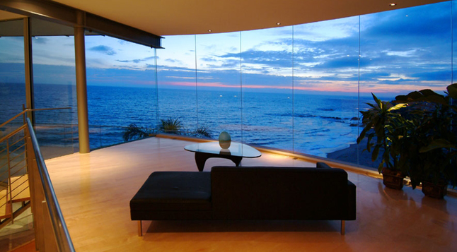 Architecture corner beach house point place residence by for Glass houses for sale in california