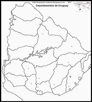 Mapa Político de URUGUAY, blanco y negro, mapa de los departamentos de de Uruguay para colorear, para pintar