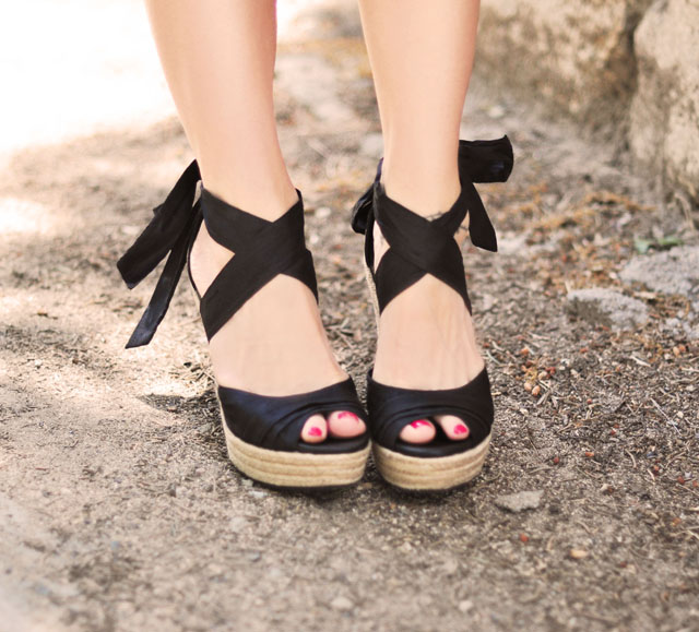black tie up espadrille wedges