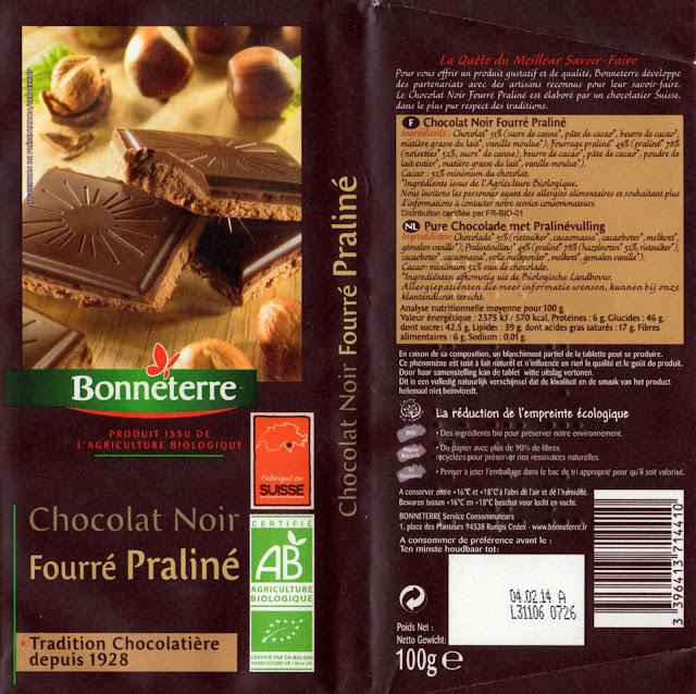 tablette de chocolat noir fourré bonneterre noir fourré praliné