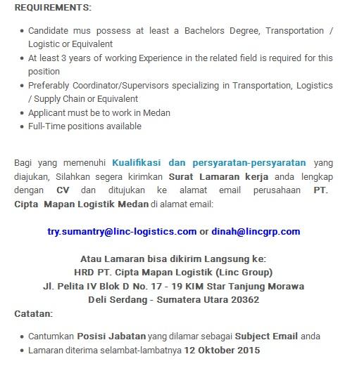 Lowongan Kerja Medan PT. Cipta Mapan Logistik Oktober 2015