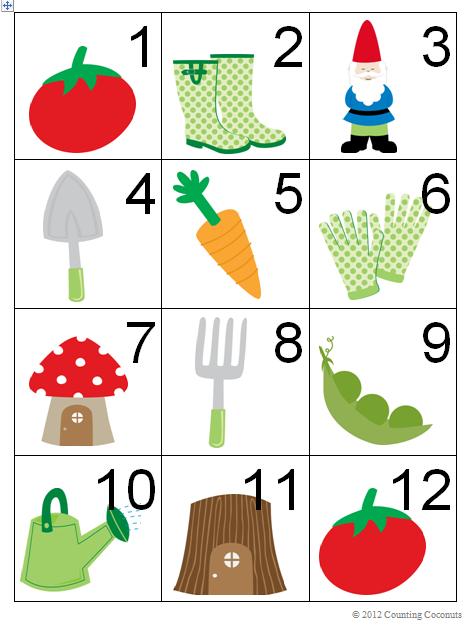 Calendar Cards Printables : Counting coconuts spring gardening calendar cards
