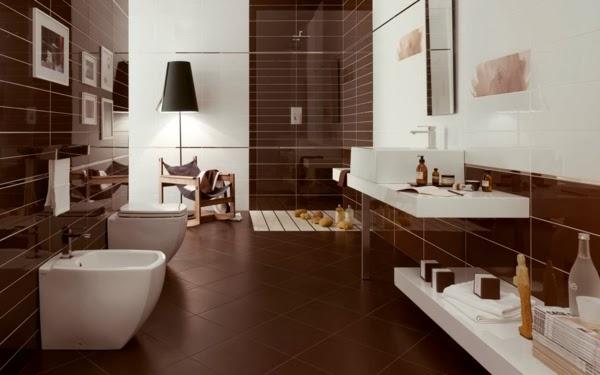 Baños modernos en color marrón - Colores en Casa
