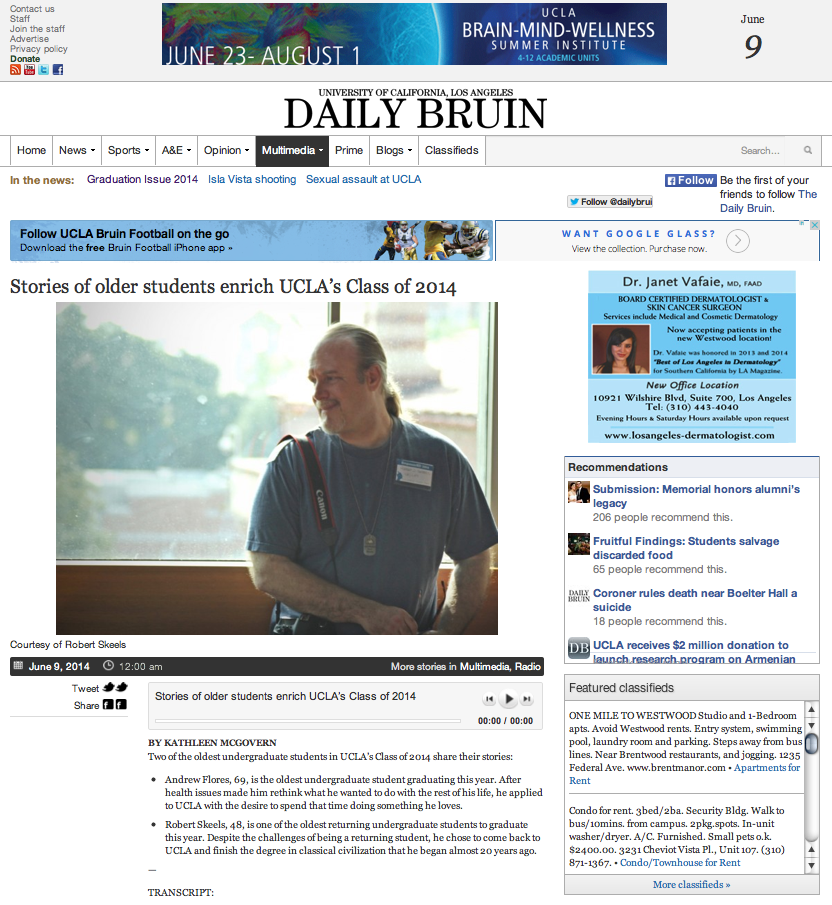Robert D. Skeels featured in the UCLA Daily Bruin 2014 Graduation Issue and Radio