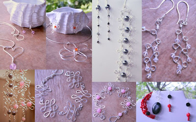 Wire work: sterling silver, Swarovski crystals, pearls, jade, gemstones: necklaces, pendant, bracelet, earrings :: All Pretty Things
