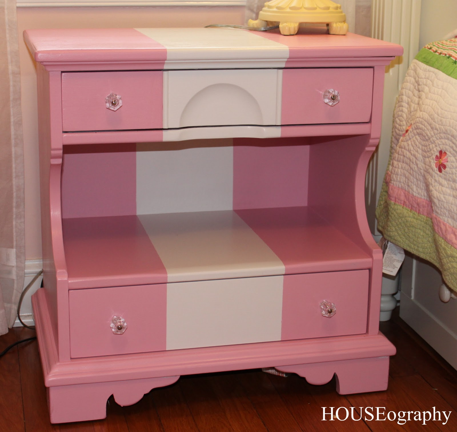 Houseography nightstand makeover for a little girl finally for Little girls nightstand