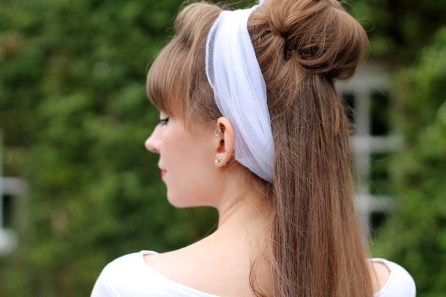 50s style white chiffon headscarf and half up hair bun