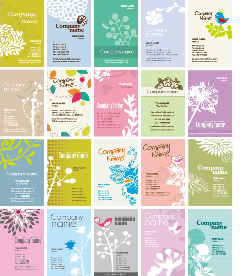 植物のシルエットを背景にした名刺デザイン Set of Floral Business Cards イラスト素材