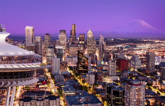 Seattle from a helicopter, space needle, seattle skyline and mount rainier, aerial photography seattle