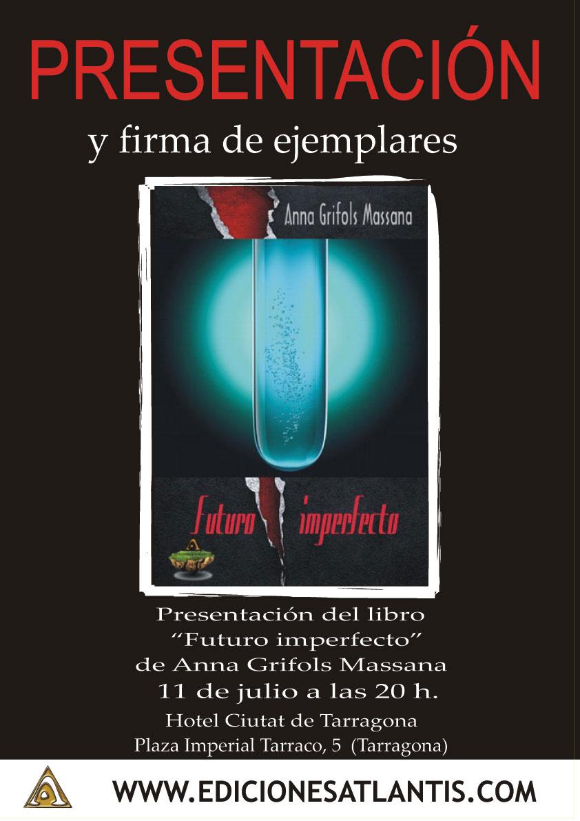 """Cartel de la presentación del libro de Anna Grifols Massana """"Futuro Imperfecto"""""""